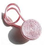 Broccoli21 Corbatas para cortina, 2 unidades, hecho a mano, con hebilla magnética, corbata, accesorios para cortina, cinturón decorativo, cuerda de corbata, ganchos para cortinas (color rosa