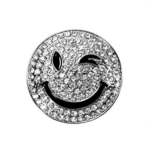 Smiley Magnet Brosche mit Strass Rund Schalhalter Wink Jeans Tasche Farbe Silber