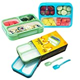Bizz Bento Lunch Boxes with Spoon (2-Pack) 3-Compartment Leakproof Food Storage Container, Work,...