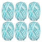 QLOUNI 6 x 50g Ovillos de Lanas de Hilo -Lanas para Tejer Ovillos para DIY y Tejer a Mano Colorido Conjunto de Hilo de Acrílico Algodón (Blue)