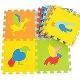 Fenfen Rompecabezas Educativo para niños Alfombra de Espuma EVA Alfombra de Piso Escalada Mosaico de Dibujos Animados sin Sabor 9 Piezas. 30 * 30 * 1 cm