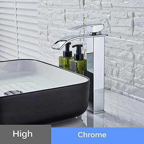 G0000D - Grifo para lavabo de cascada de agua fría y caliente, grifo de lavado de baño con una sola manija con un agujero de piedra hermoso arco para fregadero de agua mezclador == Calidad superior y envío gratis
