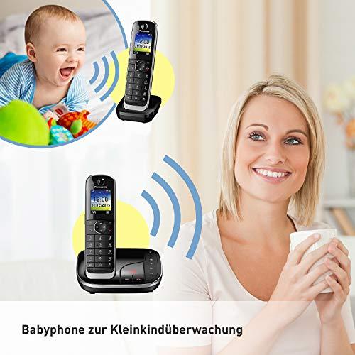 Panasonic KX-TGJ322GB Familien-Telefon mit Anrufbeantworter (schnurloses Telefon DUO, Mobilteil, strahlungsarm, Anrufschutz, DECT Basistation) schwarz