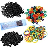400Pcs Tattoo Machine Parts Accessories, Tazay 100 Tattoo O-rings, 100 Tattoo Rubber Bands, 100 Tattoo Needles Grommets Pad, 100 Nipples and 1 Tattoo Brush Set for Tattoo Machine Accessories Supplies