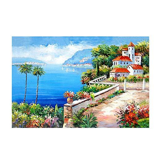 Mediterraner Gartenturm Grün Landschaft Leinwand Ölgemälde Kunstplakat und Drucke Wohnzimmer rahmenloses dekoratives Wandbild A119 70x100cm