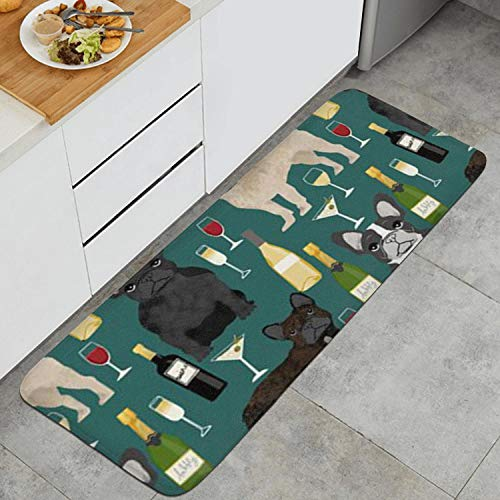 Fashion Anti Fatigue Kitchen Mat French Bulldogs and Wine Champagne Microfiber Waterproof Non-Slip Soft PVC Kitchen Mat Bath Rug Memory Foam Mat for Kitchen Floor Home Office 17.7 X 47.2 Inches
