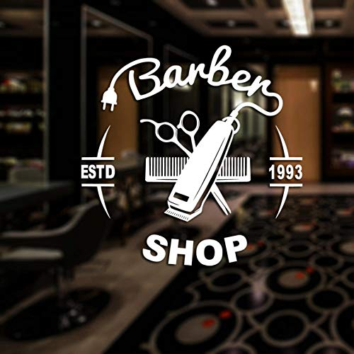 Olivialulu Heren Barber Shop Sticker Naam Seal Brood Decal Haar Clipper Shaver Poster Vinyl Wall Art Decal Decoratie 58 * 58Cm Aanpasbaar