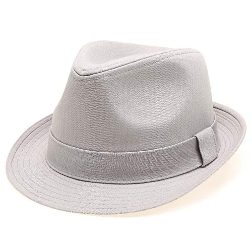 Classic Trilby Short Brim 100% Cotton Twill Fedora Hat with Band Light Grey SM