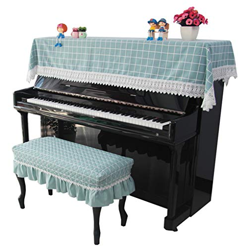 Review Piano cover Cotton Linen Cloth Half Cover Lattice Fresh Pastoral Japanese Plain Plain Simple ...