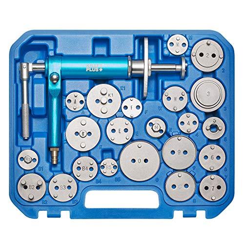 KRAFTPLUS K.211-1423 - Juego de herramientas para reposicionar pistones de freno (23 piezas, neumáticos, husillo de aire comprimido y 22 adaptadores)