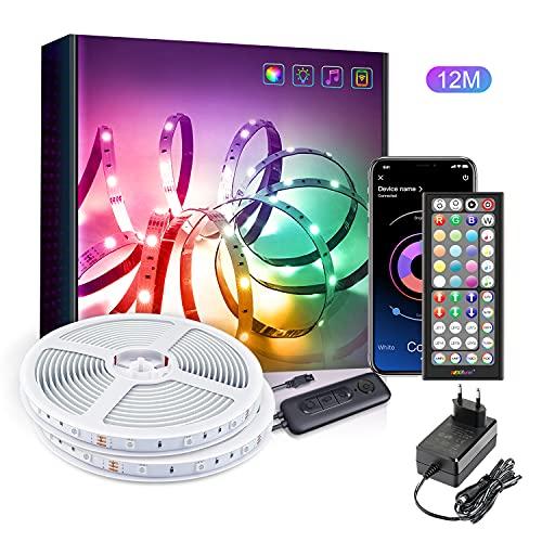 Tira LED 12m, Bluetooth Luces LED para Habitación, Luces de Tiras LED con mando a distancia de 44 teclas, Luz LED para la iluminación de armarios, decoración del hogar, bar, cocina, fiesta