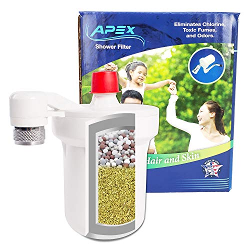 APEX MR-7012 Shower Water Filter for Bathroom - Add Minerals & Removes Chlorine and Heavy Metals - Universal Showerhead System
