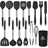 MIBOTE 15pcs Silicone Kitchen Utensils Set, Cooking Utensils Set with Heat Resistant BPA-Free Silicone and Stainless Steel Handle Kitchen Tools Set (Black)