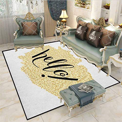 Hello Children Play Dormitory Home Decor Rug Brush Pen Lettering Hello in Black with Gold Color Mosaic Looking Background Indoor-Outdoor Carpet Black White Gold 6 x 7 Ft