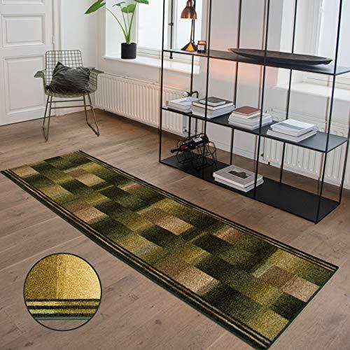 Carpet Studio Pluizig Vloerkleed voor gang & welkomsthal 67x150cm, Groen, Tapijt, Modern Design, Eenvoudig te reinigen, Handgemaakt