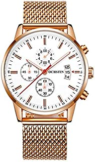 Ochstin Casual Watch For Men Analog Stainless Steel - 6084 - Gold band white dial