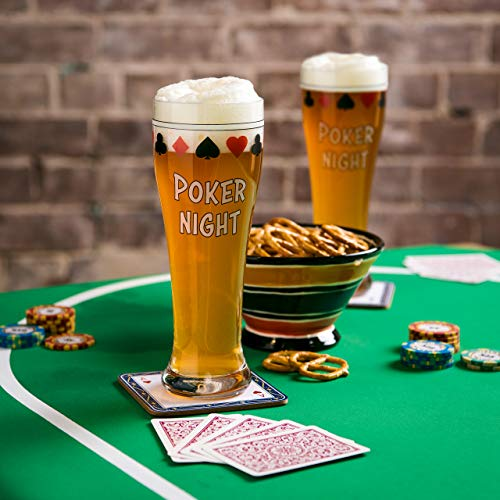 Bar Pint Glasses for Poker, Gift Beer Set of 2 Drinking Cups for Home Man Cave Card Games, Playing Card Suit Freezer Mugs 15oz, Texas Holdem Casino Accessories, Cool Stuff for Men