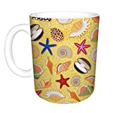 Coffee Mug 11 Oz White Ceramic Funny beach sand background sea shells marine Watermark