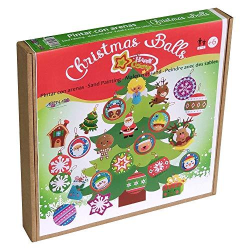 Arenart | Pack 36 Bolas Árbol de Navidad | para Pintar con Arenas de Colores | Manualidades Infantiles | Decoración Navideña en Familia