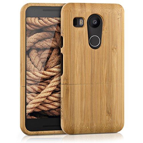 kwmobile Funda Compatible con LG Google Nexus 5X - Carcasa de bambú para móvil - Case Protector en marrón Claro