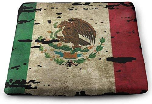 Cojín grande de espuma viscoelástica con diseño de la bandera de México para sillas, ideal para sillas de cocina, comedor, oficina, asiento de coche y silla de ruedas, 15 x 13.7 x 1.2 pulgadas