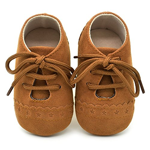 Dukars Baby Boys Girls Soft Sole Moccasins Lace-up Infant Toddler Shoes Sneaker (Brown 1)