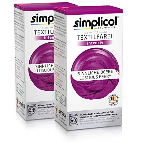 Simplicol Textilfarbe intensiv (18 Farben), Sinnliche Beere 1806 2er Pack, Lila: Einfaches Färben in der Waschmaschine, All-in-1 Komplettpackung