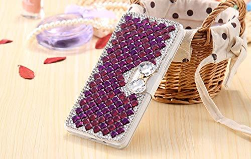LIUYAWEI Luxus-Strass-Diamant-Telefonhülle für iPhone 11 12 Mini Pro Max XR X 6 Plus 7 8 Plus Brieftasche Leder-Flip-Cover, tiefviolett, für iPhone 5 5S