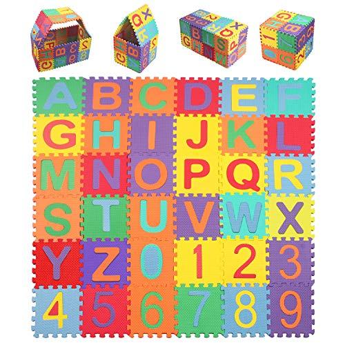 StillCool Alfombra Puzzle Niños de Letras para Niños Bebe Infantil 15cm * 15cm, 36 Piezas de Goma Espuma Suave Eva alfombras de Numeros 0 al 9 y 26 Letras (A-Z)