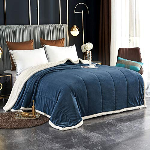 LAFAVILLE Navy Blue Thick Sherpa Bed Blanket –...
