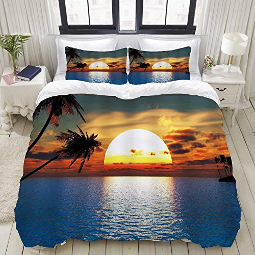 Dodunstyle Duvet Cover,Hawaiian Sunrise Ocean Beach Island Seaside Landscape Tropical Palm Tree Scenic Sunset Summer,Bedding Set Ultra Comfy Lightweight Microfiber Sets