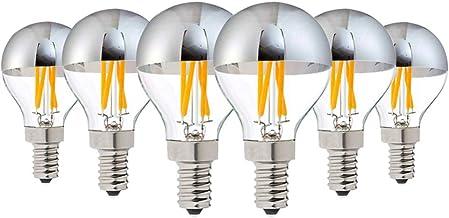Dimmable Screw Bulb E27/E26/E14/E12 4W Vintage Edison Bulbs Half Chrome Bulb 400LM 2700K Warm White Bulbs,40W Equivalent D...