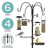 Best Choice Products 89in 6-Hook Bird Feeding Station, Steel Multi-Feeder Stand w/ 4 Feeders, Tray, Bird Bath - Bronze