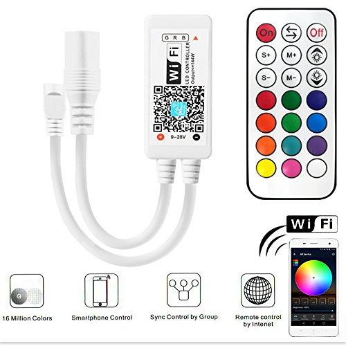 Led Streifen Controller RGB, RF Led Streifen Kontroller mit Google Assistant/Alexa, Wifi/App gesteuert, Ferngesteuert von Android/IOS, Sound Aktiviert, Dynamische Farbänderung
