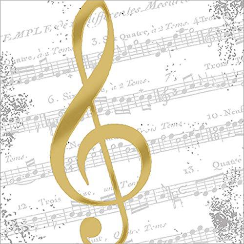 CasaJame Servietten (2er Set / 40Stück) 3-lagig 33x33cm Musik Noten Notenschlüssel Gold