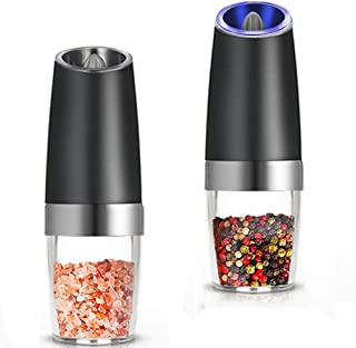 TOOGOO Premium Gravity Electric Salt and Pepper Grinder Set of 2 Battery Powered Salt Shakers, Automatic One Hand Pepper M...