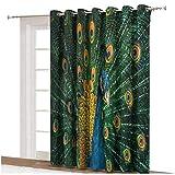 Cortinas opacas para puerta de patio con diseño de pavo real durante el cortejo, con ojales naturales, para puertas correderas