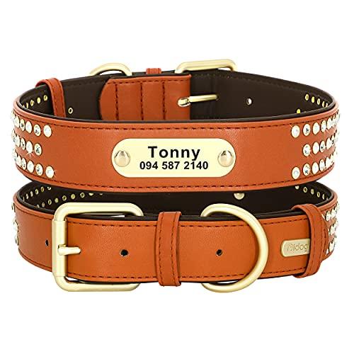 Didog - Collari per cani in vera pelle con targhetta incisa, collare per cani imbottito morbido personalizzato con strass Bling