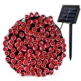 Joomer Solar String Lights 72ft 200 LED 8 Modes Outdoor String Lights Waterproof Fairy Lights for Garden, Patio, Fence, Balcony, Outdoors (Red)