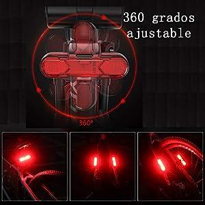 BUDERMMY Luz Trasera Bicicleta(2 Paquetes) LED Luces Bicicleta Luz Bicicleta Trasera Recargable USB con 5 Modos Fijos e Intermitentes,Adecuado para Cascos, Bicicletas, Scooters