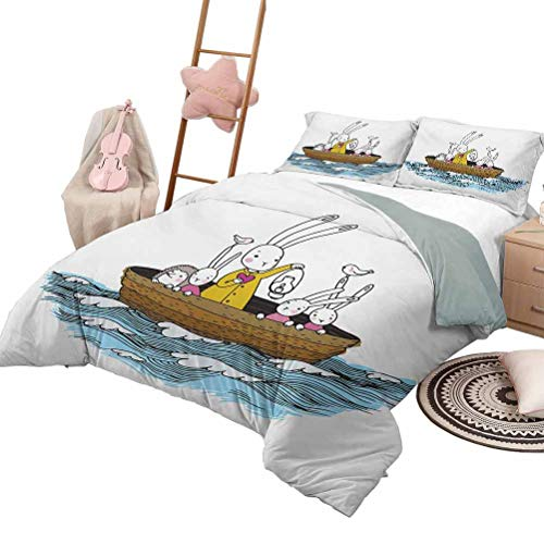 DayDayFun Quilt Set Kids Quilt Set for Children Cartoon Style Hare Family and a Hedgehog on a Sea Adventure Little Birds and Lantern King Size Multicolor