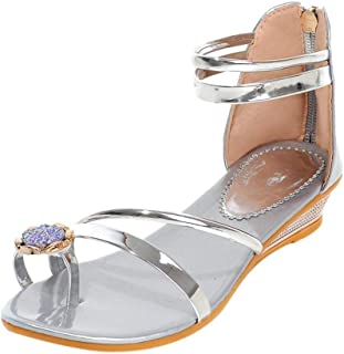 42fb8022308 REYO Women Ankle Strap Flat Sandals Bohemian Flip Flop Platform Sandals  Beach Slippers Wedding Bridal Prom