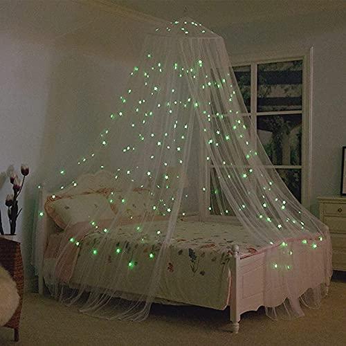 htovila Mosquito Net Cama de lujo con dosel Mosquitera estrella luminosa color blanco con Diseño de Cúpula y Mosquitera de Fácil adecuada para bebés, niñas, adultos