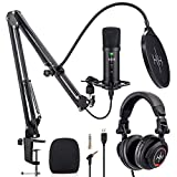Kit Professionnel de Podcast - Micro Gamer USB, Filtre Anti Pop, Bras Micro, Casque Studio, Support Anti-Chocs, Ensemble Micro Gaming Tout en un– Plug and Play avec Ps4, Ordinateur Portable et Pc