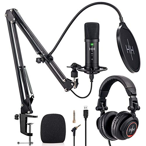 Kit Podcast Professionale con Microfono a Condensatore – Microfono Professionale USB, Cuffie Professionali da Studio, Pop Filter, Braccio Regolabile, Supporto - Plug and Play con PS4, Laptop e PC