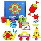 Fewao 155 Pièces Tangrams Blocs en Bois Géométrique Puzzle Maternelle Début...