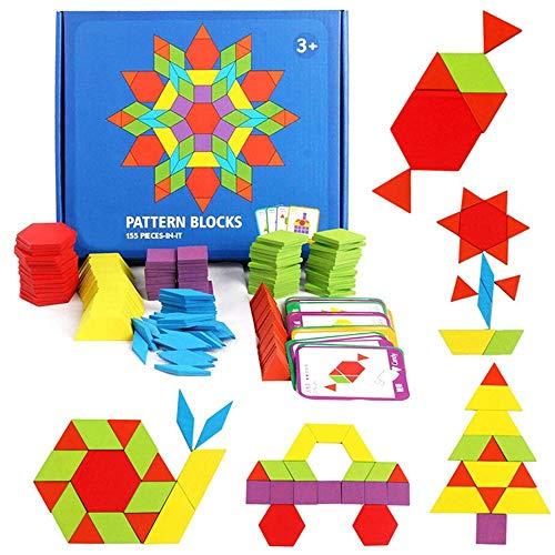 Fewao 155 Pièces Tangrams Blocs en Bois Géométrique Puzzle Maternelle Début Éducatifs Montessori Tangram Jouets avec 24 Pcs Conception Cartes