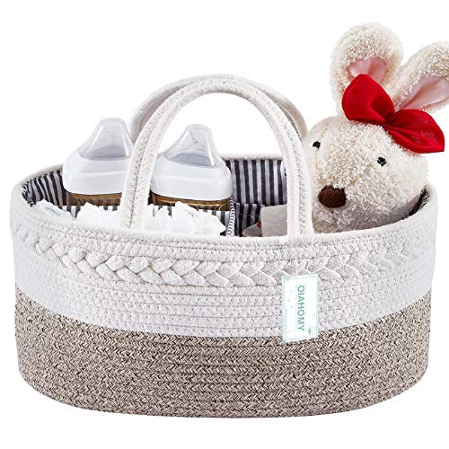 Baby Diaper Caddy Organizer-Baby Basket Bin with Removable Divider Portable Tote Bag for Changing Table & Cars,Cotton Rope Basket Baby Shower Basket