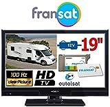 TV pour Camping Car récepteur Satellite intégré FRANSAT TNT TNTUHD décodeur démodulateur ANTARION LED HD 19 Pouces 49cm 12V +...