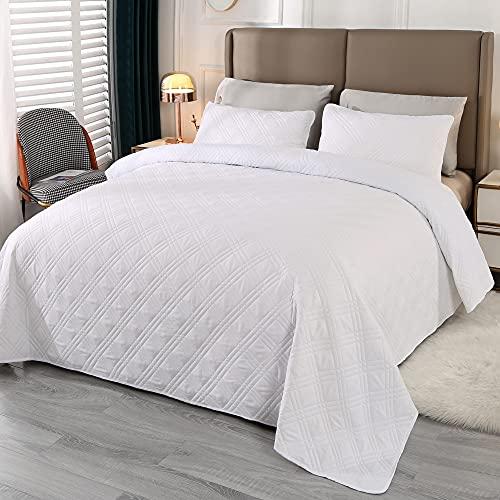 Qucover Tagesdecke 170x210cm Bettüberwurf Gesteppte Steppdecke 3 Teilige Bettwäsche Atmungsaktiv Weiß Mikrofaser Bettbezug mit 2 Kissenbezug für Doppelbett Couchüberwurf